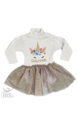 """abitino neonata con gonna in organza """"Unicorno + nome"""""""