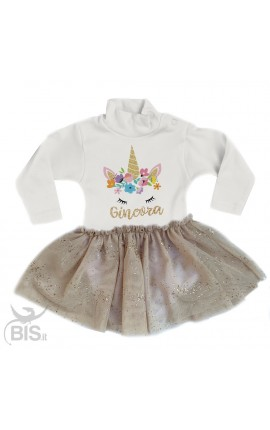 "abitino neonata con gonna in organza ""Unicorno + nome"""