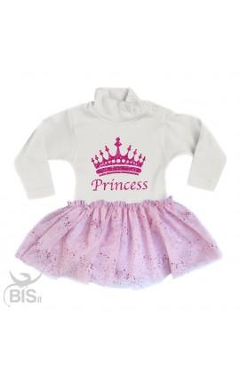 "Newborn girl dress with a glittery tulle skirt, ""Princess"""