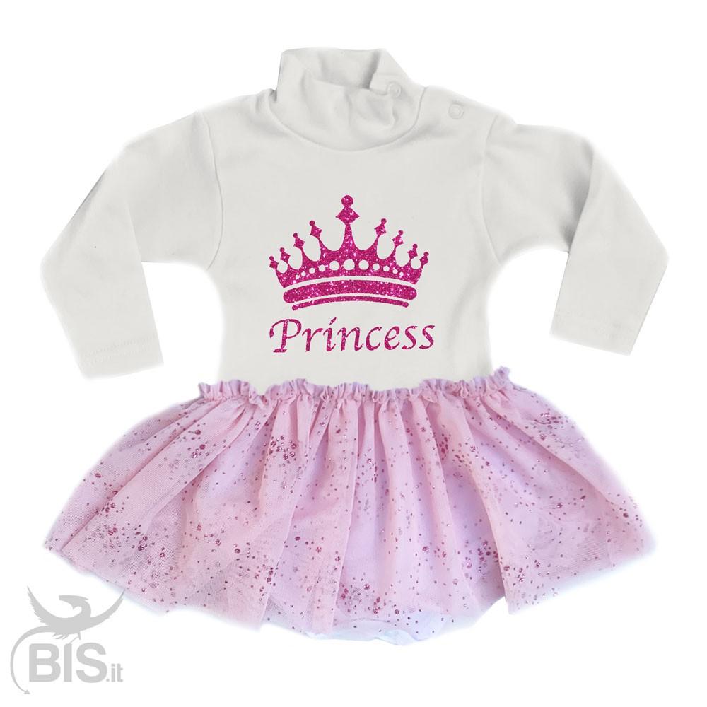 piuttosto bella prezzo favorevole bello economico Abitino neonata con gonna in tulle glitterata