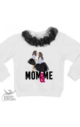 "Felpa Bimba con fiori applicati ""Mom & Me"""