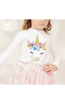 "Little girl's T-shirt ""Unicorn"" + name"