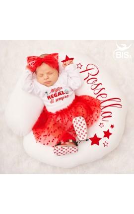 """abitino neonata con tulle a cuori """"Miglior regalo di sempre"""""""