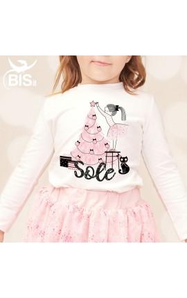 "Little girl's T-shirt ""Christmas Tree"" + name"