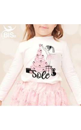 "Little girl's T-shirt ""Christmas Tree"" + name"