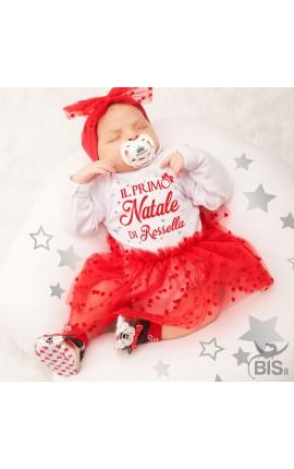 """Abitino neonata con tulle a cuori """"Il mio Primo Natale"""" da personalizzare con nome"""