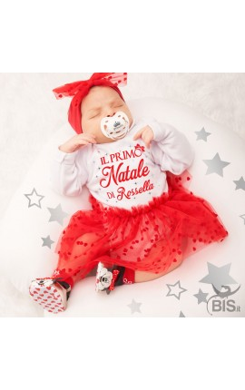 "Newborn dress, tulle with hearts, ""Best gift ever"""