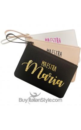 Pochette in ecopelle MAESTRA da personalizzare con nome