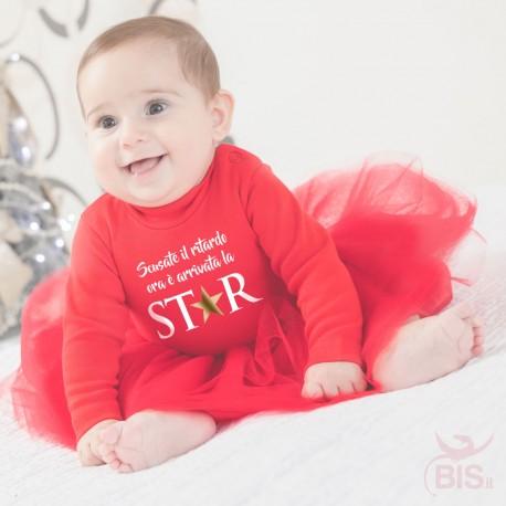 """Abitino neonata con tulle """"Scusate il ritardo è arrivata la star"""""""