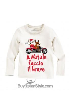 """T-shirt manica lunga """"A Natale faccio il bravo"""""""