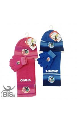 """Kit cappellino, sciarpa e guanti """"BING"""" con nome"""