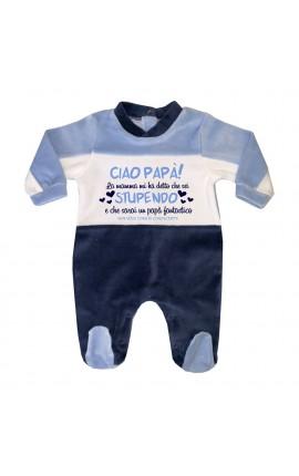 """Tutina neonato in ciniglia """"Ciao Papà!"""""""