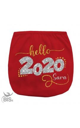 """Mutandina copri-pannolino """"Hello 2020"""" con nome"""