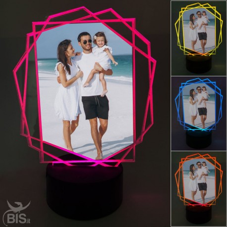 """Lampada Led poligono  """"Con foto personalizzabile"""""""