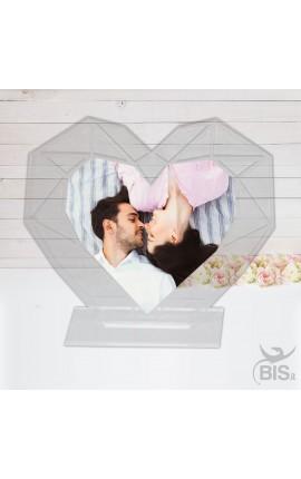 Targhetta a cuore in plexiglass da personalizzare con foto