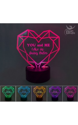 """LED heart lamp """"You and me like in fairy tales"""""""