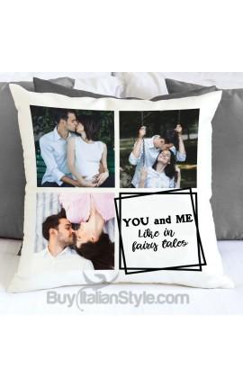 Federa cuscino collage con 3 foto e testo da personalizzare