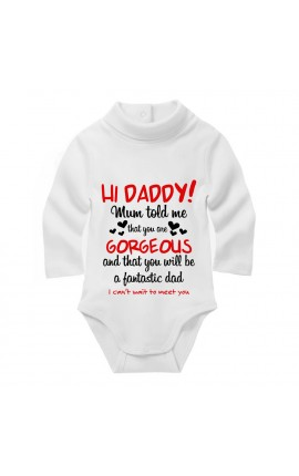 "Turtleneck Chenille Bodysuit ""Hi Dad!"""