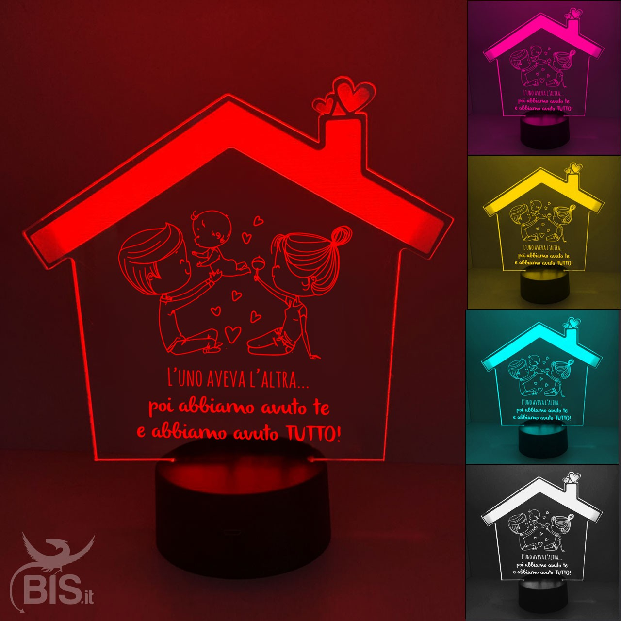Accensione Lampadario Con Telecomando lampada led casetta con dedica per la famiglia