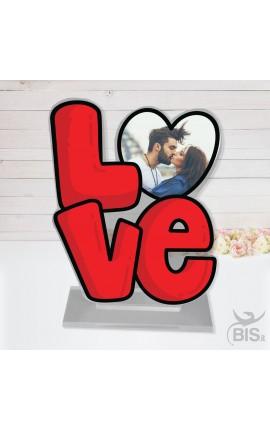 """Targhetta in plexi """"LOVE"""" con foto"""