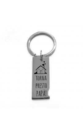 """Steel Key Ring """"See you at home"""""""