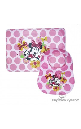 "Plastic placemat and bib ""Minnie & Mickey Mouse"""