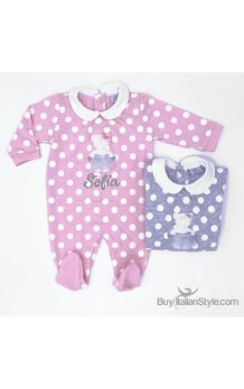 Tutina neonata a pois con nome in glitter