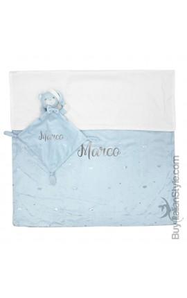 Disney Soft-fleece Blanket + Dudu toy set, to personalize