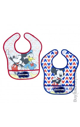 "Pair of plastic bibs, ""Mickey Mouse + name"""