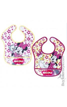 "Pair of ""Minnie + name"" plastic bibs"