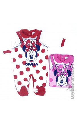 Summer cotton baby jumpsuit, Mickey Mouse and bow tie, to customize
