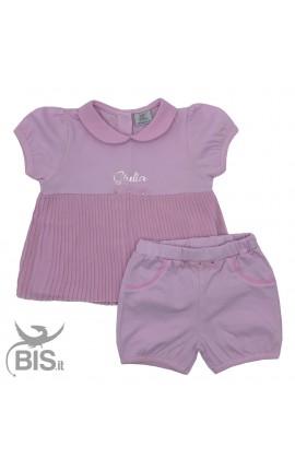 Completo neonata con maglia plissettata da personalizzare con nome