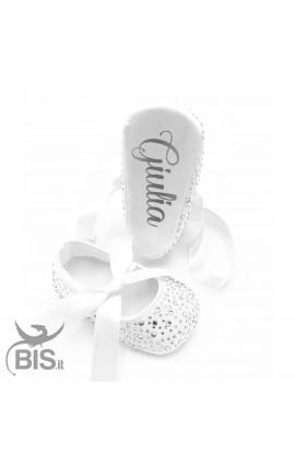 Ballerine neonata con strass da personalizzare con nome