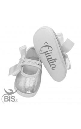 Ballerine neonata argentate da personalizzare con nome