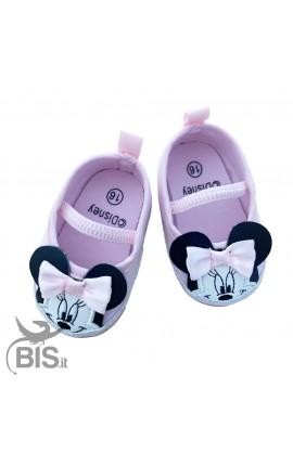 """Ballerine neonata rosa """"Minnie"""" con fiocco"""