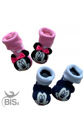 """Socks with baby rattles, in warm cotton, """"Minnie"""""""