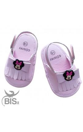 """Sandalo neonata rosa """"Minnie"""" con fiocco"""