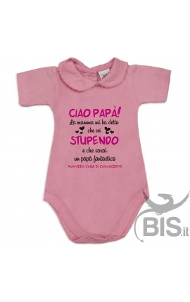 "Baby Girl's Bodysuit with lace-bordered Collar ""I'll Be Soon in your Arms!"""