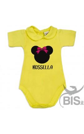 """Body neonata colletto personalizzabile """"Topina con nome"""" e fiocco in glitter"""