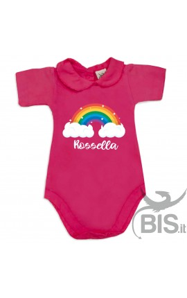 """Personalized Baby Girl's Bodysuit with lace-bordered Collar """"Unicorn & Name """""""