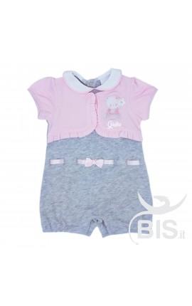 Pagliaccetto neonata con finto coprispalle da personalizzare con nome