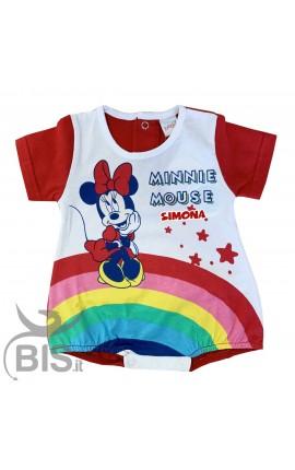 Pagliaccetto Minnie arcobaleno con nome