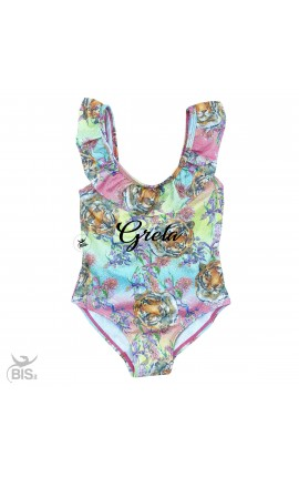 """One piece girl swimsuit, winged braces,""""NAME AND UNICORN"""""""