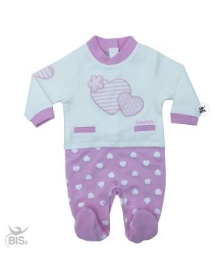 Tutina neonata pois e cuori personalizzabile con nome