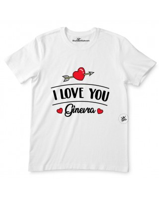 """T-shirt uomo mezza manica """"I love you"""" da personalizzare"""