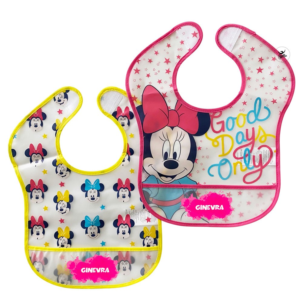 "Customizable Pair of ""Minnie + name"" plastic bibs"