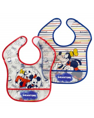 "Customizable Pair of plastic bibs ""Mickey Mouse and Goofy+ name"""