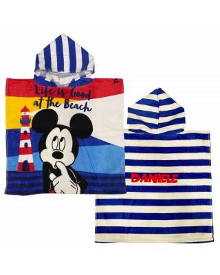 """Customizable kid beach bathrobe """"Minnie and Mickey Mouse"""""""