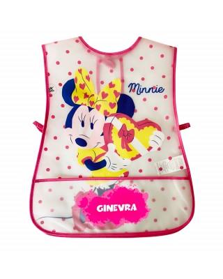 """Grembiule neonata in plastica """"Minnie a pois """" fuxia"""