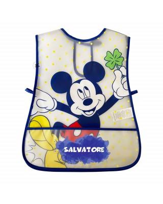 """Grembiule neonato in plastica """"Mickey mouse"""" a pois blu"""